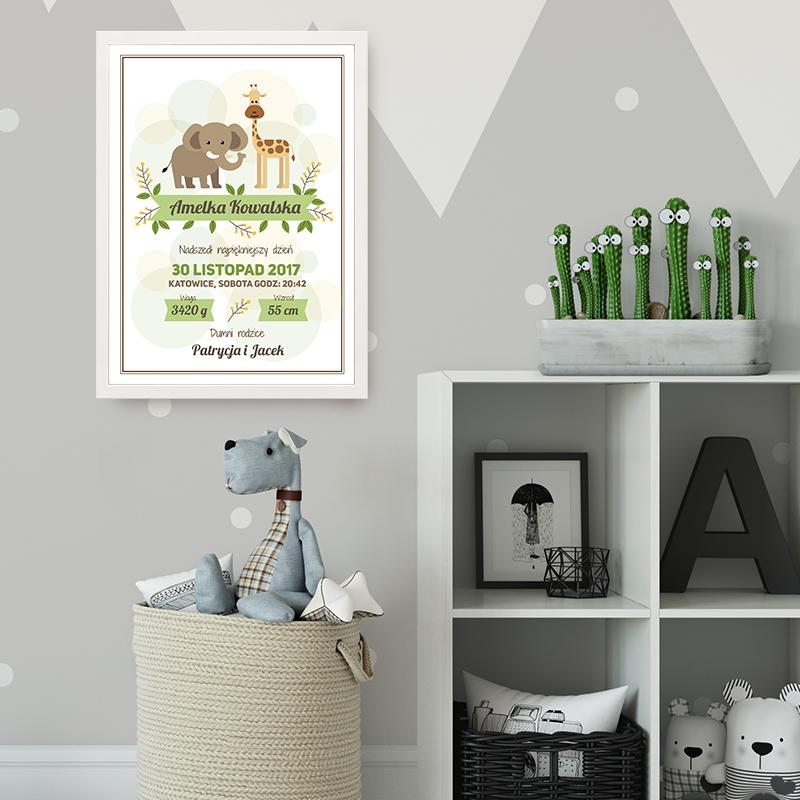 Plakat personalizowany metryczka - pamiątka narodzin dziecka