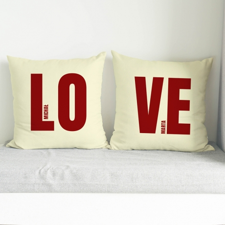 Poduszki z nadrukiem LOVE (zestaw personalizowany)