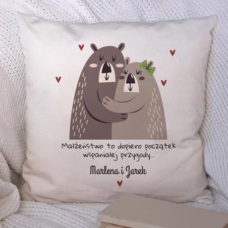 Poduszka dla małżonków w misie (personalizowana)