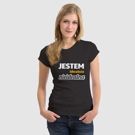 Koszulka damska z nadrukiem Idealnie nieidealna