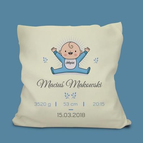 Poduszka z metryczką dla dziecka (personalizowana) OKAZYJNA CENA