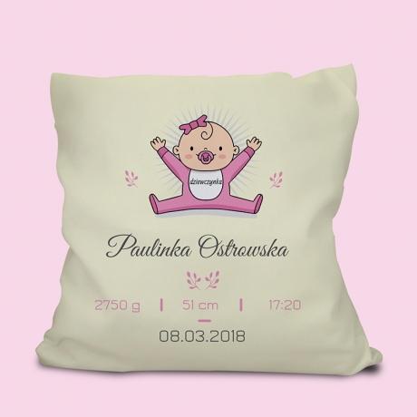 Poduszka personalizowana METRYCZKA DLA DZIECKA (Dziewczynki)