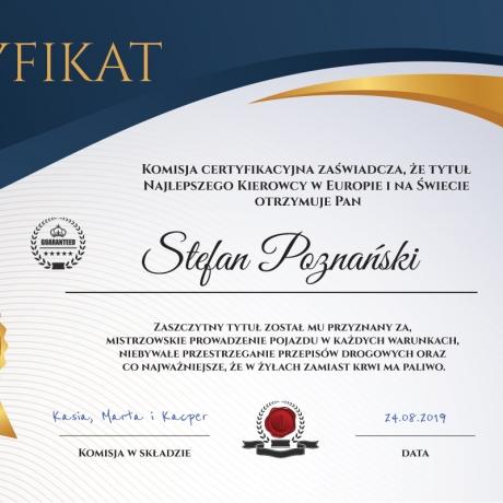 Plakat dyplom dla kierowcy