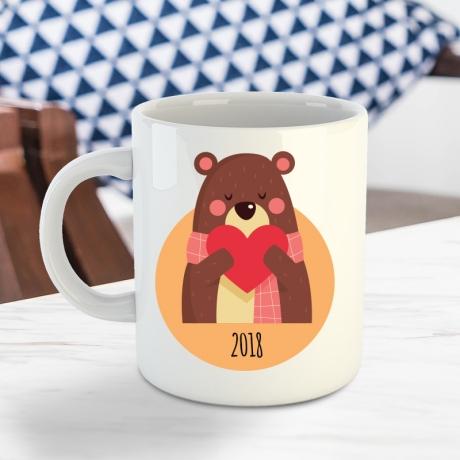Kubek dla kochanej żony z misiem ceramiczny personalizowany