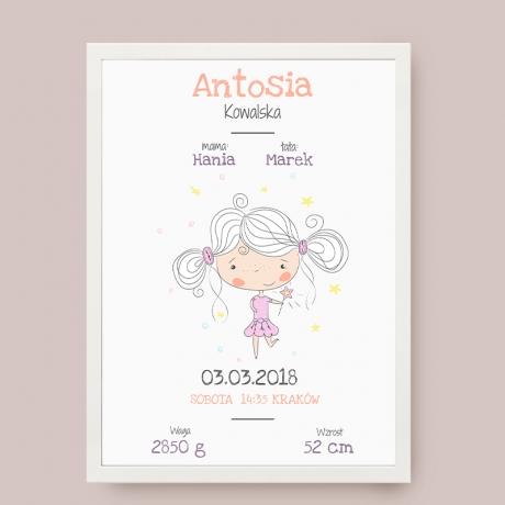 Plakat Metryczka dla dziewczynki z Wróżką