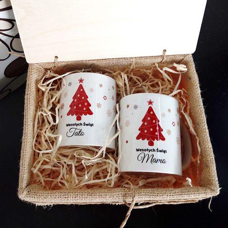 Zestaw kubków świątecznych w skrzynce MAMA I TATA