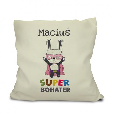Poduszka dla dziecka z imieniem Super Bohater (personalizowana)