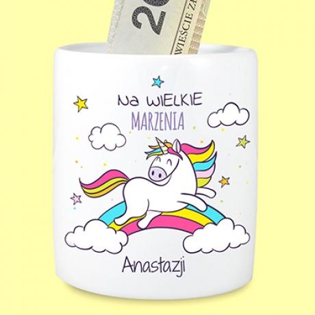 Skarbonka z jednorożcem (personalizowana)