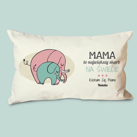 Poduszka dla mamy ze słonikami i napisem (personalizowana)
