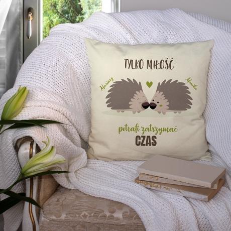 Poduszka ozdobna personalizowana z jeżami