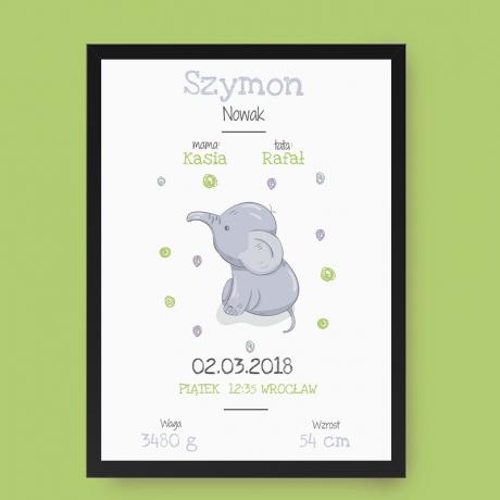 Plakat Metryczka dla chłopczyka ze słonikiem