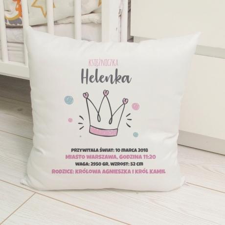 Poduszka z metryczką dla dziewczynki (personalizowana)