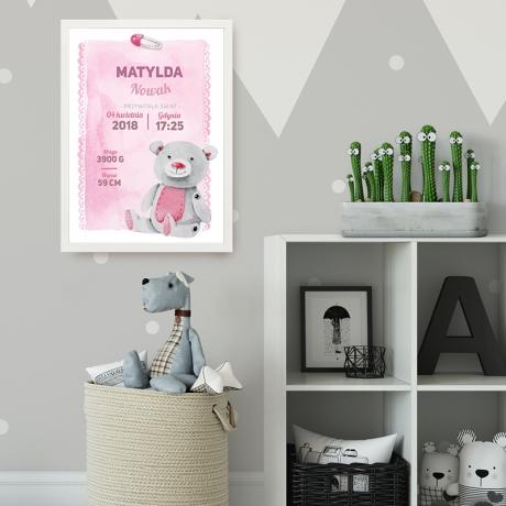 Plakat z metryczką dla dziewczynki