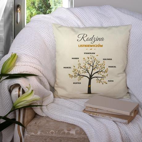 Poduszka z Drzewem Genealogicznym Rodziny Personalizowany nadruk
